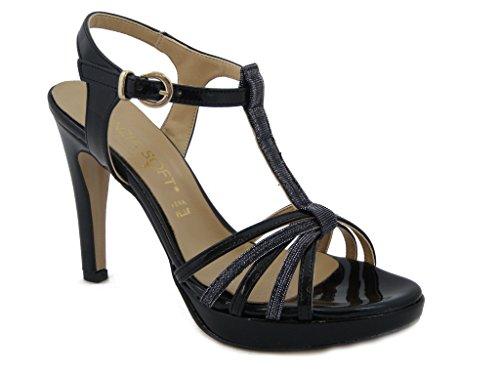 Sandalo Cinzia Soft in ecopelle lucida colore nero, SCARPA con tacco 10cm. e plateau 1,5cm., SUOLA IN gomma ANTISCIVOLO, Estivo-IC952
