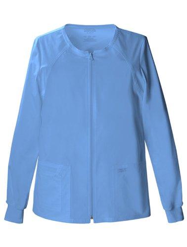 Cherokee Women's Workwear Scrubs Core Stretch Zip Front Warm Up Jacket, Ciel, 3X-Large