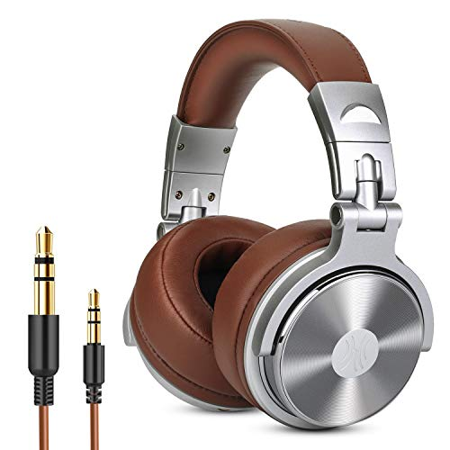 Over Ear Headphone, Wired Premium Stereo Sound Headsets with 50mm Driver, Foldable Comfortable Headphones with Protein Earmuffs and Shareport for Recording Monitoring Podcast PC TV- with Mic (Silver) - Mic Pre Module