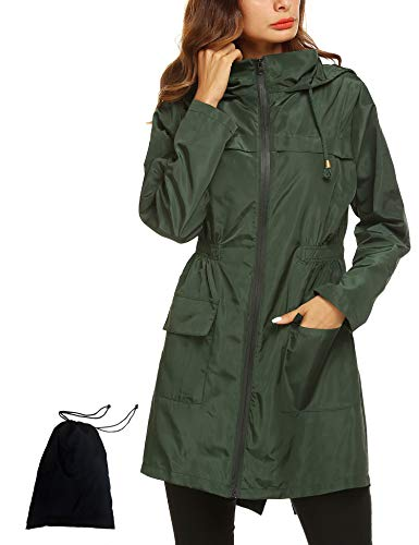 (Waterproof Lightweight Hooded Outdoor Rain Jacket Women's Trench Coats Lightweight Travel Trench Windbreaker Jacket Navy Blue)