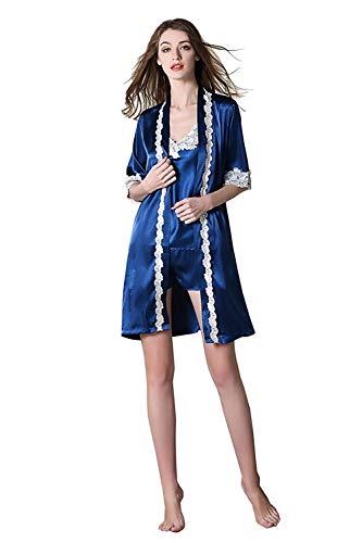 Tirantes Mangas Camisola Navy Elastische Corta Camisones Pijama cuello Encaje Espalda Mujer V Manga Taille Conjunto Marca Descubierta Shorts Splice De Mode Sin fI1qW06