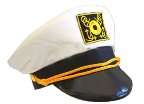 Cotton Yacht Cap-White (Sailor Captain Hat Halloween)