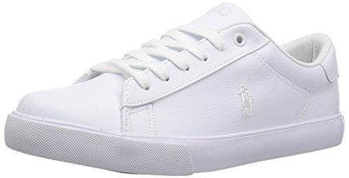 Polo Ralph Lauren Kids Unisex Easton Sneaker, Triple White Tumbled, 3.5 Medium US Big Kid