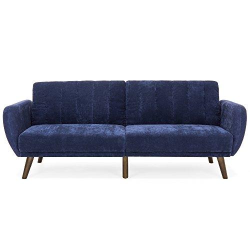 Velour Fold Down Futon Sofa Bed Furniture w/Armrests, Rib Tufted Back, Wood Frame - Blue (Fold Futon)