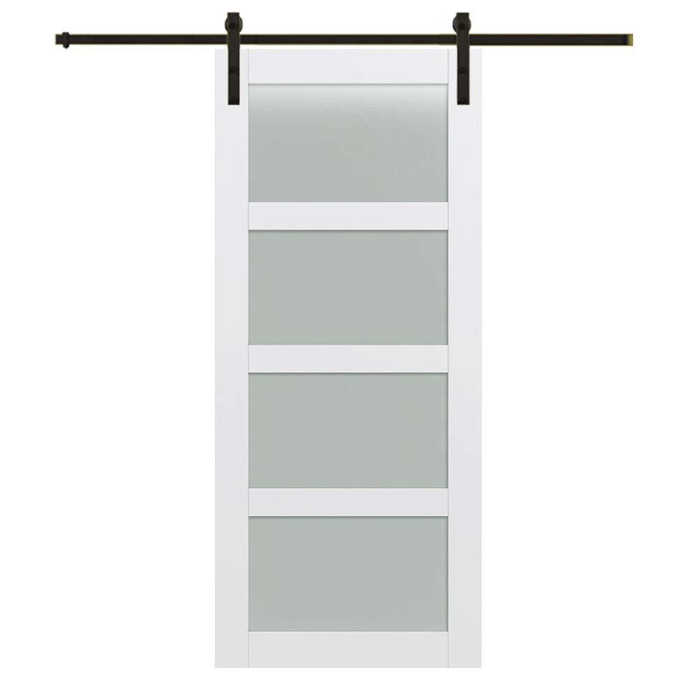 72x84 Barn Door Unit 4 Lite Frosted Glass National Door Company ZZ364972 Primed MDF