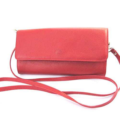 Leather pouch bag 'Frandi'red grained (2 folds). ()