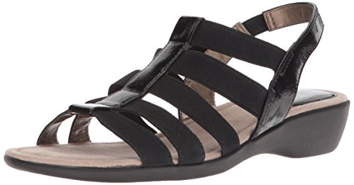 LifeStride Women's Tania Flat Sandal, Black, 9 W US