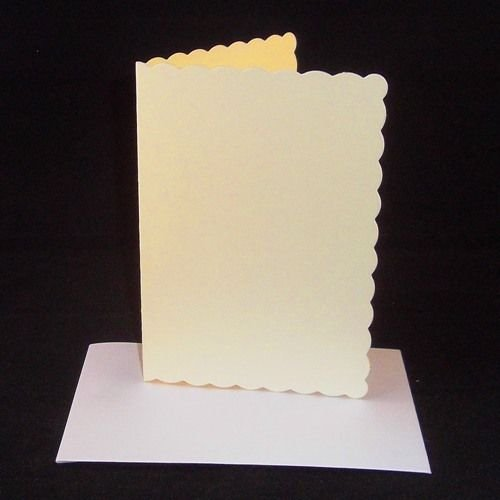 10 x A5 Cream Scalloped Card Blanks With White Envelopes Stella Crafts