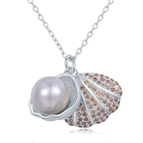 Silver White Simulated Pearl Champagne CZ Openable Shell Pendant Necklace (16