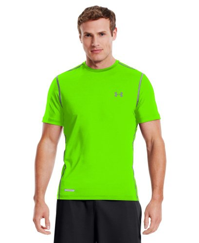 Under Armour Men's Heat Gear Sonic Fitted T-Shirt, Hyper Green/Steel, L