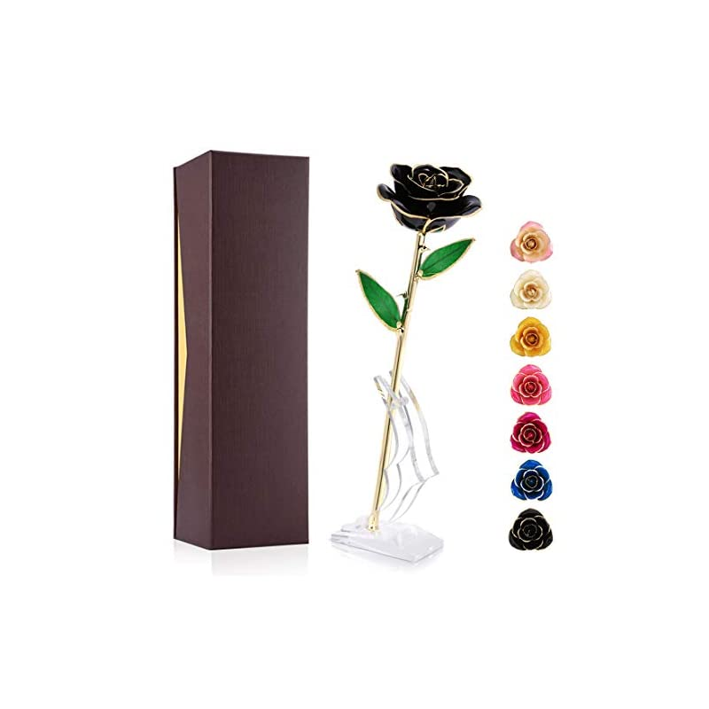 silk flower arrangements ejoyous 24k gold plated black rose, forever preserved real rose gift for lover mom wife daughter girl friend, unique present on valentines day, anniversary, birthday, proposal (black with stand)