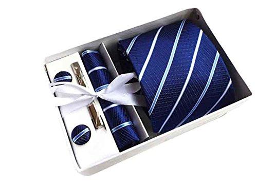 MENDENG Men's Royal Blue Stripe Necktie Tie Clip Pocket Square Cufflinks Set (Necktie Stripes Cufflinks)