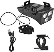 Bike Light,Bike Light with Horn and Phone Charger Cell Phone Holder 4 in 1 Headlight with 3 Lighting Modes Bui