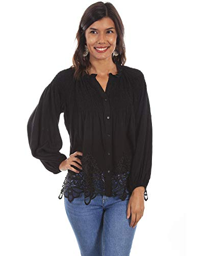 Scully Women's Honey Creek by Lace Button Front Blouse Black Small