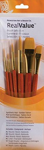 Princeton Art & Brush Real Value Brush Set, Synthetic Gold Taklon, Round 1/6 and 12, Liner 2, Angular 1/2