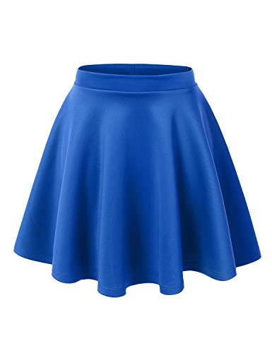 MBJ WB211 Womens Basic Versatile Stretchy Flared Skater Skirt L Royal_Brite -