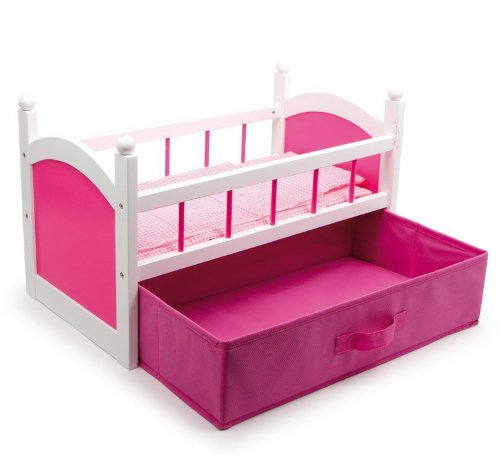Dolls Wooden Crib Cot Bed With Bedding and Pink Clothes Drawer Storage, Toy Gamez Galore GG0012