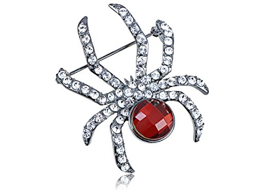Alilang Crystal Elements Ruby Red Gem Body Petite Spider Fashion Pin ()