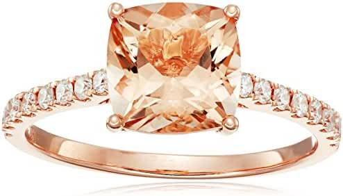 10k Yellow Gold Red Cushion and Diamond Solitaire Ring (1/4 cttw H-I Color, I1-I2 Clarity), Size 7