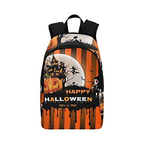 YSWPNA Halloween Pumpkin Moon Design On Casual Daypack Travel Bag College School Backpack for Mens and Women]()