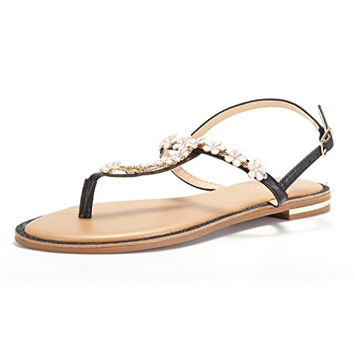 DREAM PAIRS Women's Black T-Strap Flat Sandals Size 10 M -