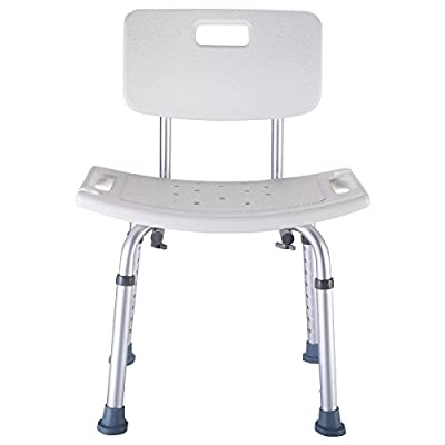 AyaMastro White Shower Bath Chair Bench Stool Adjustable Height w/Detachable Backrest
