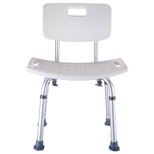 Goplus 8 Height Adjustable Medical Shower Bath Chair Bathtub Stool Detachable Backrest (Inch Tips 1 2 Chair)