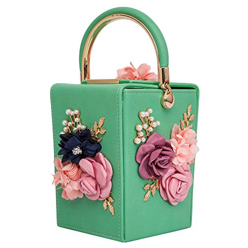 Women Satin Flower Evening Bag Box Clutch Bridal Clutch for Wedding Prom Cocktail Party (168 Green)