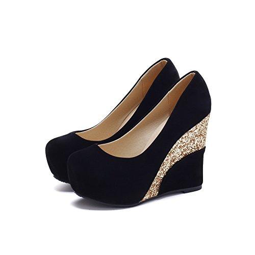 Unie Rond Talon Suédé À Légeres Tire Voguezone009 Noir Femme Couleur Haut Chaussures tqgn80wfx6