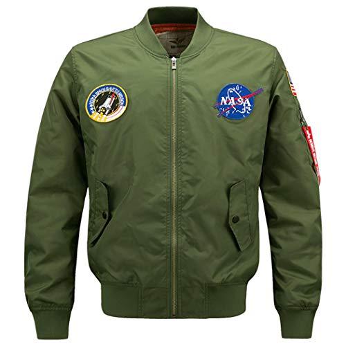 PZJ Bomber Chaquetas Hombre, Manga Larga Impresión Cierre De Cremallera Jacket Sporty Bomber Suelto Casual para Abrigos verde del ejército