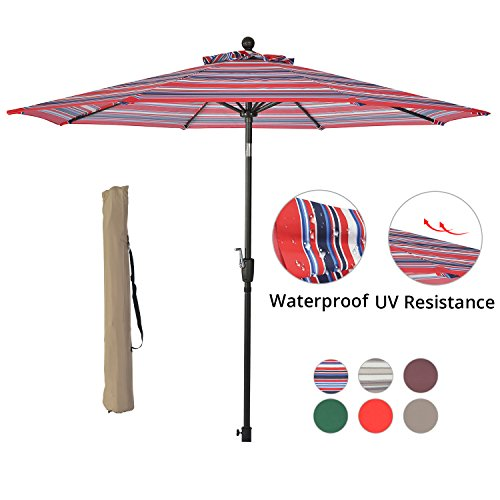 SUNLONO 9′ Outdoor Patio Table Umbrella Backyard Garden with 8 Sturdy Ribs, Crank Winder, Push Button Tilt, Red and Blue For Sale