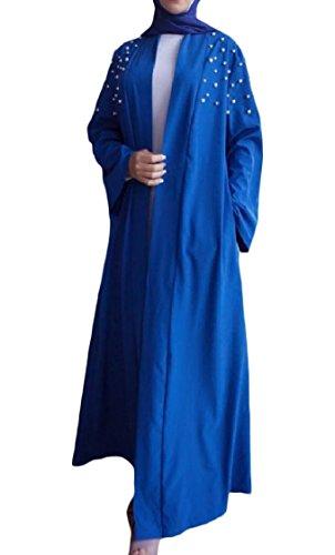 Coolred-femmes Solides De Couleur Perle Arab Ouvert Avant Capes Musulmans Motif1 Longue Robe