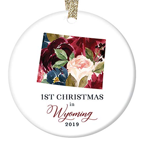 Geyser Diamond - 2019 Christmas Tree Ornament Ceramic Collectible 1st First Holiday Living in WYOMING U. S. A. Keepsake Present Friends Family Pretty Flower Blooms 3
