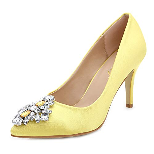 Orteils Soirée Yellow Soie À Fermés Hauts Pointu Escarpins Mariage Talons Diamant De En Femmes Hlg Pour Chaussures awqIFU6