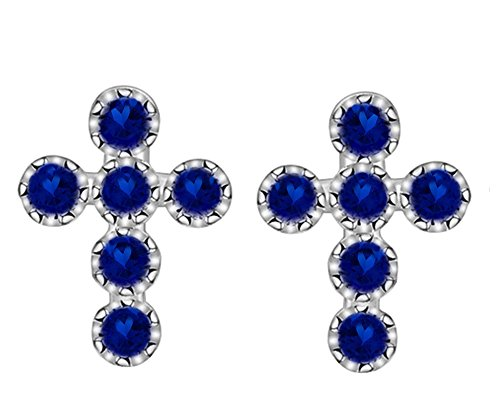 Simulated Blue Sapphire Cross Stud Earrings 14K White Gold Over Sterling Silver