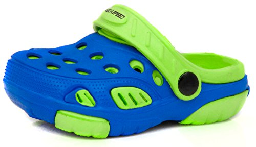 Aqua-Speed Clogs für Kinder und Babys - Badeschuhe - Ideal für Strand, Pool und Schwimmbad - #As Lido, 01 Blau/Grün, 18