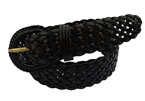 E-Clover Fashion Leather Woven Braided Belts Women's Jean Belt (Black) Black Woven Leather