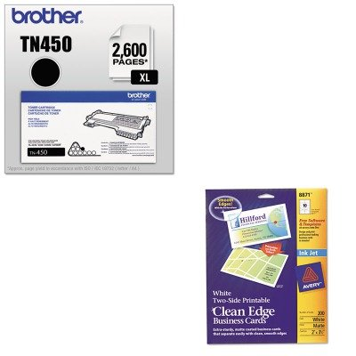 KITAVE8871BRTTN450 - Value Kit - Avery Two-Side Printable Clean Edge Business Cards (AVE8871) and Brother TN450 TN-450 High-Yield Toner (BRTTN450)