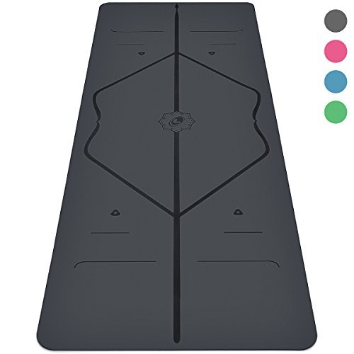 The Liforme YOGA Mat - The World's Best Eco-Friendly Non Slip Yoga Mat With ORIGINAL Unique Alignment Marker System. Natural Rubber& A Warrior-like Grip - Grey
