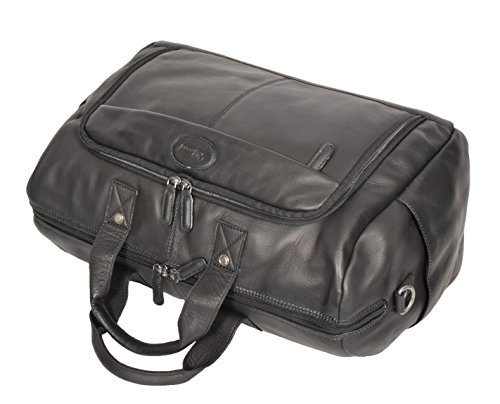 Black Real Leather Holdall Weekend Bag Business Travel Overnight Gym Bag Manila by A1 FASHION GOODS (Image #7)