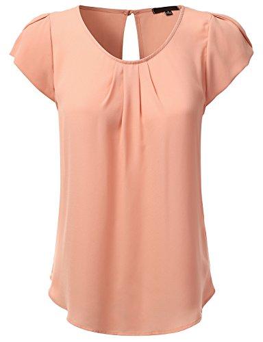 JJ Perfection Women's Woven Petal Short Sleeve Blouse Blush 3XL