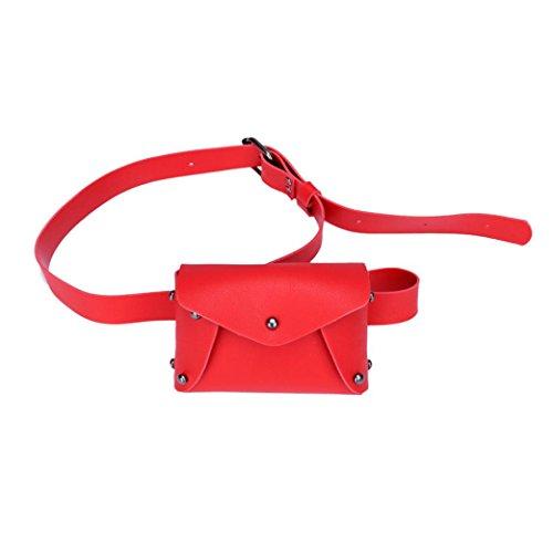 Fossrn Pequeña Bolso de pecho Bolsa de hombro Piel Artificial Bolsa de mensajero Riñoneras de Moda Rojo