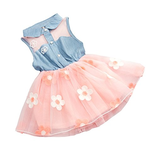Infant Baby Girls Kids Princess Dress Denim Vest Tulle Skirt Tutu Dress (1-2Y, Pink) (Halloween Costumes Denim Vest)