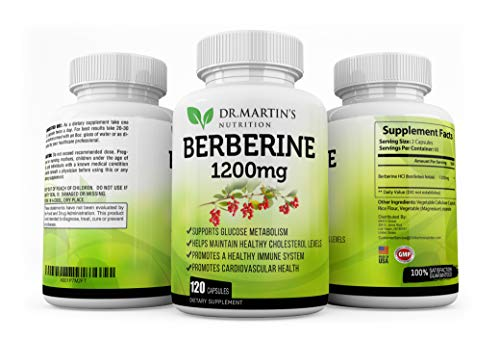 Premium 1200mg Berberine Supplement – 120 Capsules | Boost Immune System | Healthy Blood Sugar | Glucose Metabolism| | Cardiovascular Health | Weight Management | High Potency