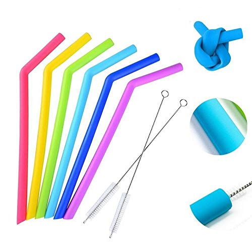 Reusable Straws,Cuteadoy 6pcs Big Silicone Drinking Straws with 2 Cleaning Brushes for 30 oz Tumblers,Bpa-Free,-No Rubber Taste
