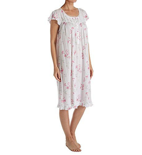 Eileen West Modal Waltz Nightgown, L, White/Pink
