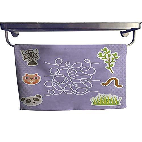 homecoco Quick-Dry Towels Zebra Panda owl Labyrinth Game for Preschool Children Vector Towel W 12