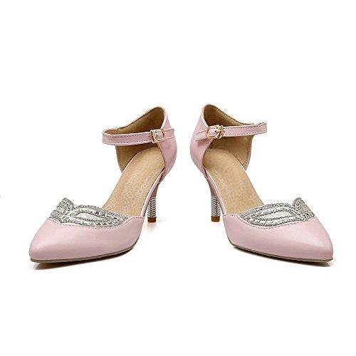 AllhqFashion Damen Weiches Material Schnalle Spitz Zehe Hoher Absatz Eingelegt Pumps Schuhe Pink