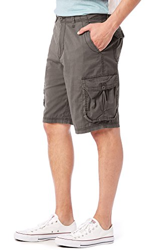 UNIONBAY Men's Stretch Fresh Twill Relaxed Fit Zipper Cargo Short, Flint, 38 by UNIONBAY (Image #4)
