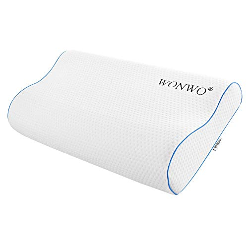 Wonwo Memory Foam Pillow, Bed Pillow for Side, Back, Stomach Sleepers Cervical Pillow for Neck Pain Orthopedic Contour Pillow with Removable Washable Cover